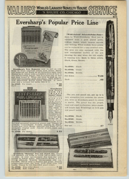 1939 PAPER AD 2 Sided Eversharp Wahl Oxford Fountain Pen Air Lite Pacmaker