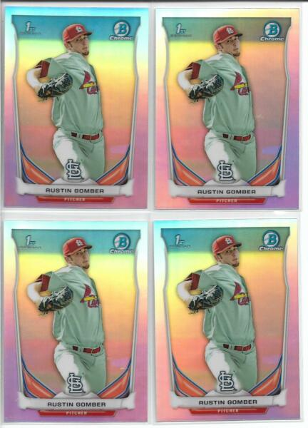 2014 Bowman Draft Austin Gomber (4) Card ALL Refractor Lot Cardianls Rookie FY
