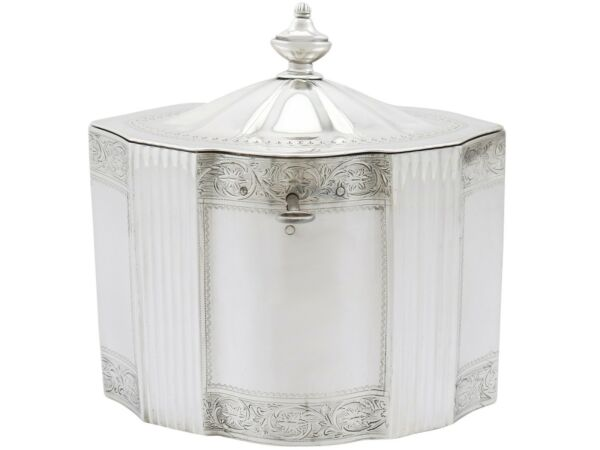 Antique George III Sterling Silver Locking Tea Caddy 1794