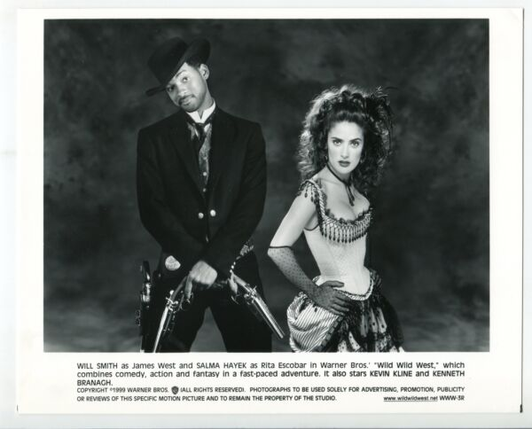 Wild Wild West-Will Smith-Salma Hayek-8x10-B&W-Still-Action-Comedy-NM