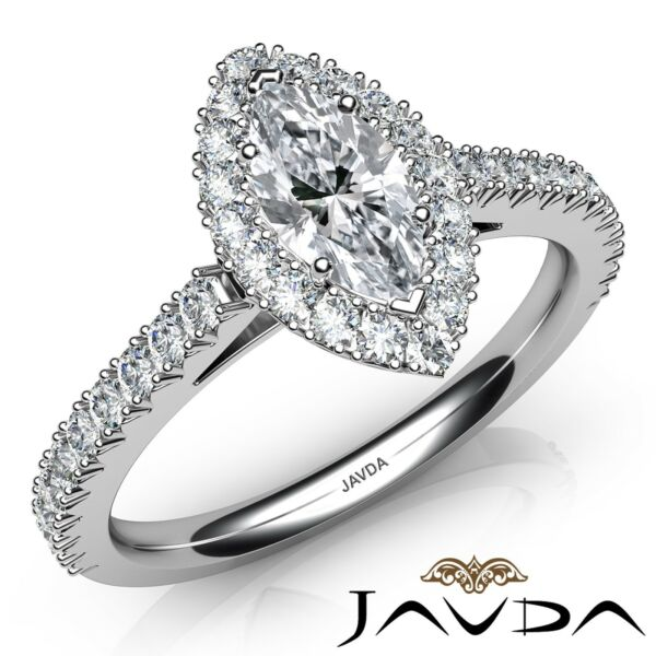 4ctw French Cut Pave Set Halo Marquise Diamond Engagement Ring GIA D-IF W Gold