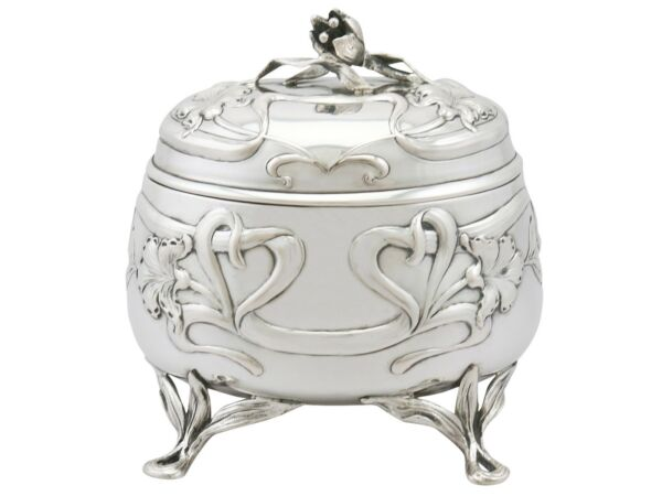 Antique Austro-Hungarian Silver Tea Caddy Art Nouveau Style 1910s