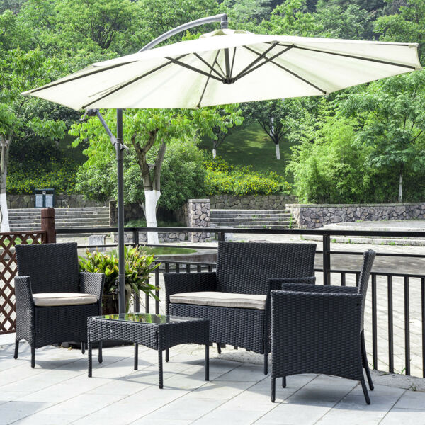 Patio Furniture Set 4 Pcs Outdoor Wicker Sofas Rattan Chair Wicker Conversation $159.99