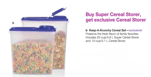 Two Tupperware Cereal Storers 13-cup & 20-cup Clear Containers & Berry Seals New