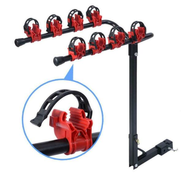 Bike Carrier Portable 4 Bicycle Rack Trailer Hitch 1 1 4quot;amp;2quot; Car SUV Redamp;Black $37.39