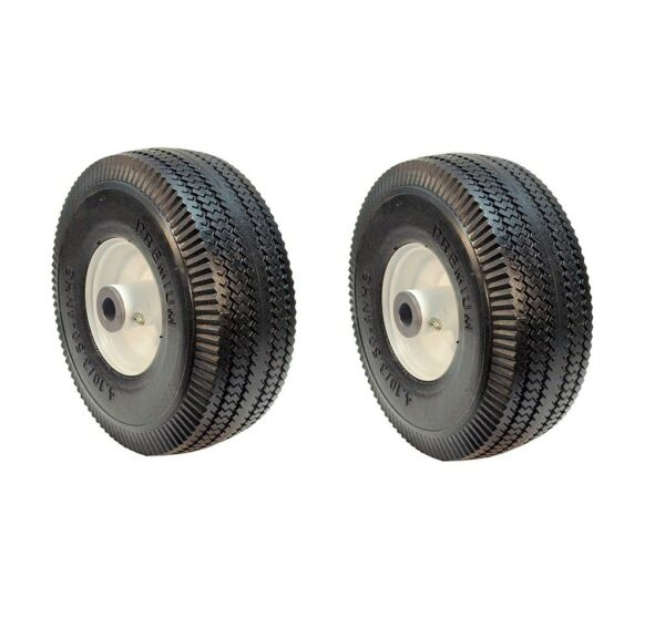 Set of Two 4.10 3.50 4 Flat Free Wheels for Toro 105 3471 Time Cutter Z 3 4quot; ID