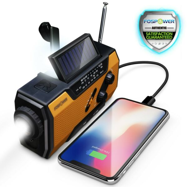 Emergency Solar Hand Crank NOAA Weather Radio 2000mAh Power Bank Charger Camping