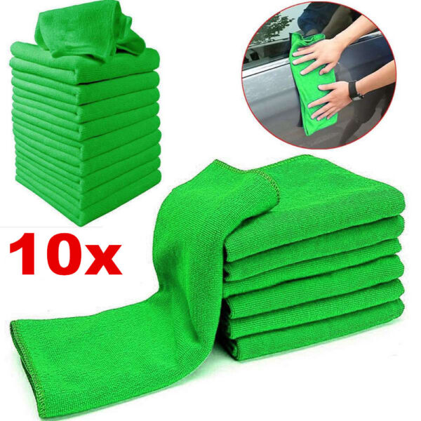 10Pcs Green Microfiber Washcloth Auto Car Care Soft Cloths Cleaning Towels Tool
