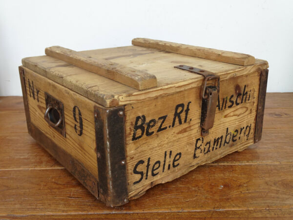 P4069 Beautiful Old Chest ~ Wooden Crate Bamberg Ammunition Box to 1930 ~ Rare