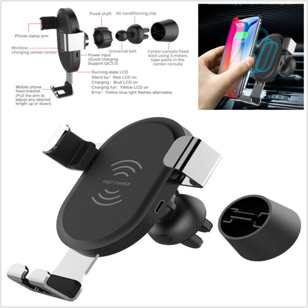 Portable 10W Fast Qi Wireless Car Charger Phone Car Holders And Stands Charging