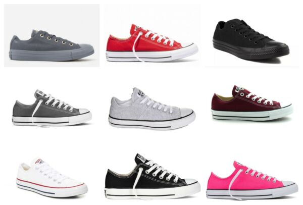 New Converse Womens White Red Blue Black Lace Up Canvas Low Top Shoes Sizes 6-12