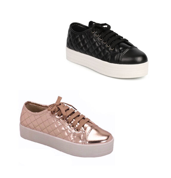 New Black metallic Quilted Sneaker flat Platform wedge lace up cap toe Creepers