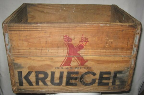 ANTIQUE KRUEGER NEWARK NJ BEER ALE BREWING CO USA WOOD BOTTLE SIGN ART BOX CRATE