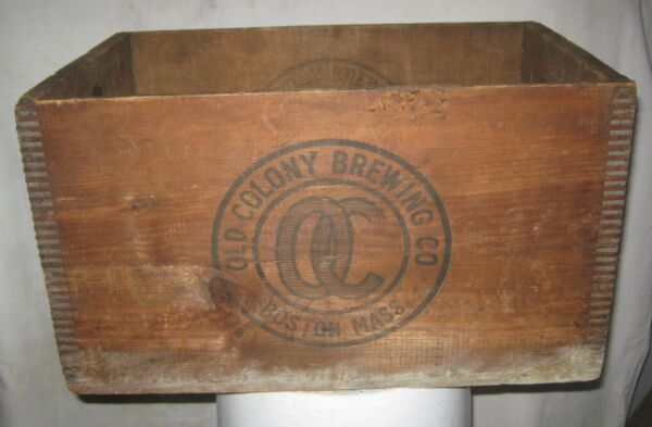 ANTIQUE OLD COLONY BEER ALE BREWING CO BOSTON MASS USA WOOD BOTTLE SIGN ART BOX