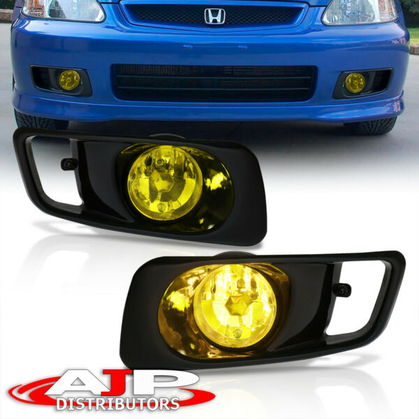 Amber Driving Bumper Fog Lights Lamps + Wiring Switch For 1999-2000 Honda Civic