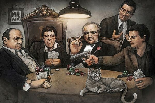 GANGSTERS PLAYING POKER POSTER Goodfellas Godfather Scarface Size 24x36