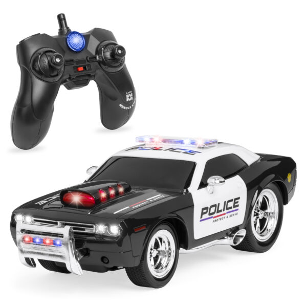 BCP 1/14 Scale 2.4GG Kids Remote Control Police Car RC Toy w/ Lights, Sounds