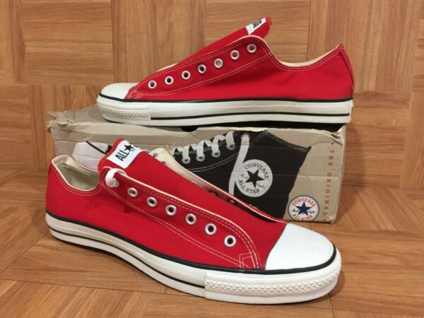 VTG🇺🇸 Converse Chuck Taylor All Star Original Lo Red Canvas Made In USA Sz 13