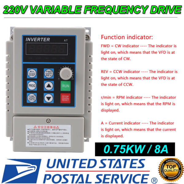 0.75KW 220V 5A VARIABLE FREQUENCY DRIVE INVERTER 1HP VFD US STOCK