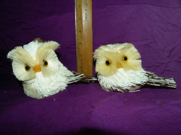 OWL ORNAMENT LOT PAIR OWLS RUSTIC OWL TWIG FEATHERS BURLAP WREATHS CRAFTS