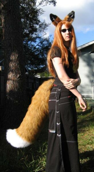 RUST RED FOX or WOLF EARS LARGE TAIL cosplay anime COSTUME fur adult KITSUNE $119.95