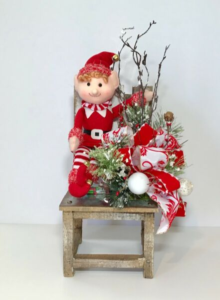 ELF ON A SHELF IN A CHAIR CHRISTMAS TABLE DECORATION RUSTIC WOOD HOLIDAY DECOR