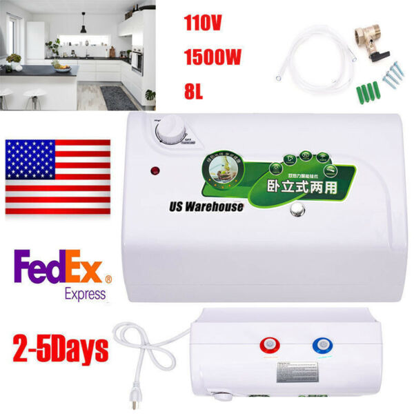 110V 8L Electric Tank Hot Water Heater For Kitchen Lavatory 30℃ 65℃Adjustable US $89.26