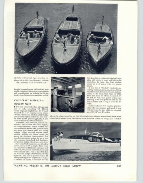 1941 PAPER AD Chris Craft Wood Motor Boats 17#x27; 19#x27; 23#x27; Super Streamline Runabout $19.97