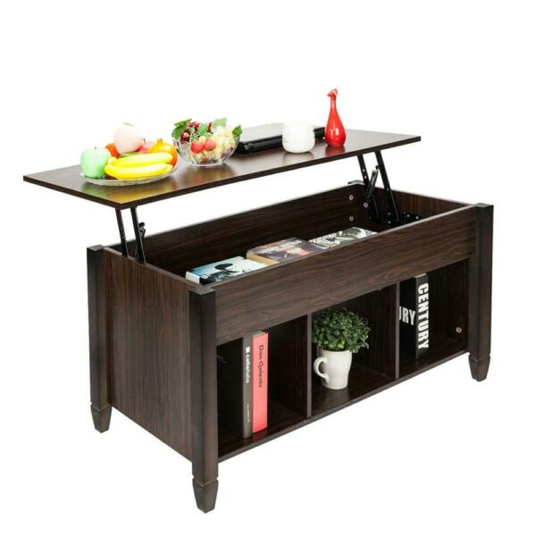 Lift Top Coffee Table w Hidden Compartment and Storage Shelves Modern Furniture