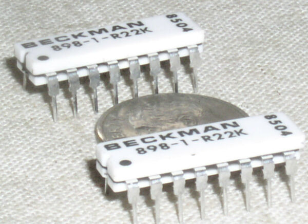 2 OBSOLETE BI BECKMAN 898 3 R22K CERAMIC 125*C 22K RESISTOR ARRAY NETWORK 16 DIP $1.49