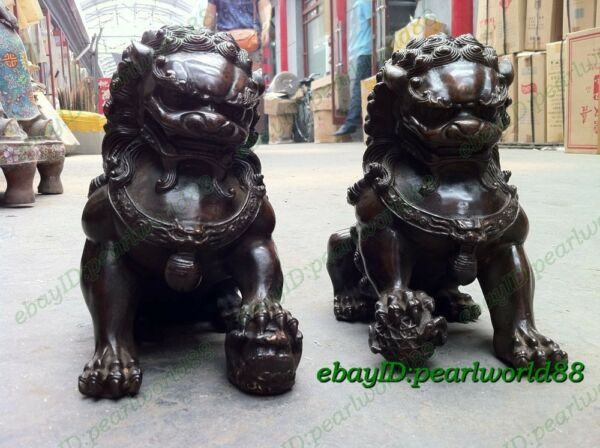 Collection Door fengshui Archaic Bronze Guardion Lion Dogs Old Statues 16cm Pair $85.00