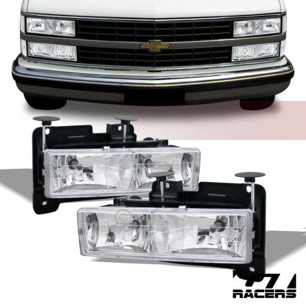 For 1988-1993 ChevyGMC C10 CK Pickup Truck Chrome Crystal Headlights Lamps dy