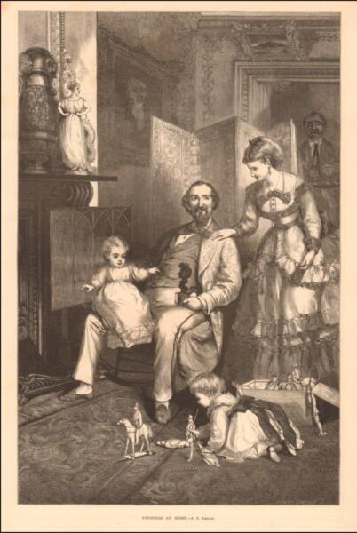 VICTORIAN FAMILY AT HOME PLAYING with TOYS FIREPLACE antique engraving 1872