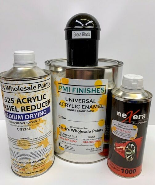 Gloss Black Gallon Kit Single Stage ACRYLIC ENAMEL Car Auto Paint Kit