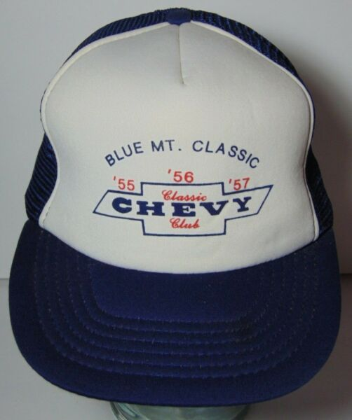 Vtg 1980s BLUE MOUNTAIN CLASSIC CAR CLUB 1955 1956 1957 CHEVY TRUCKER HAT CAP
