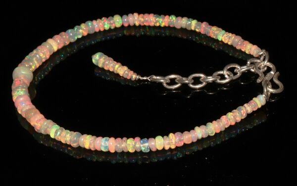 3 to 6 mm 100% Natural Ethiopian Welo Fire Opal  Roundel Beads Bracelet  S6314