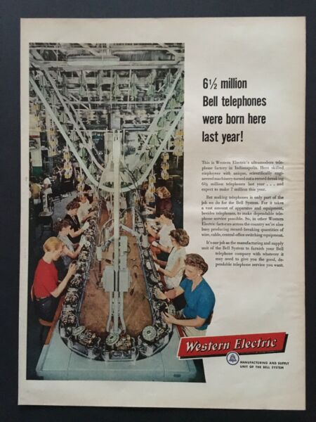 1957 Western Electric Assembly line for Phones Indianapolis Factory PRINT AD $5.45