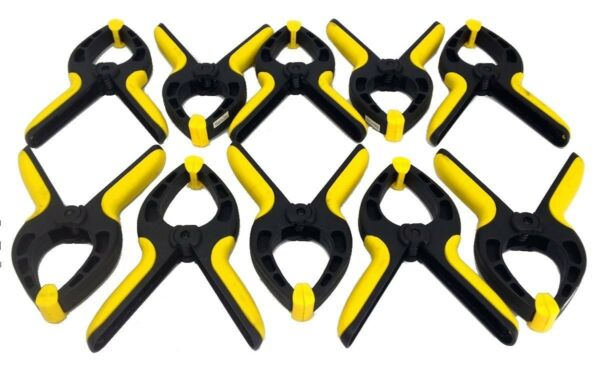 Set of 10 Nylon 6quot; SPRING CLAMPS Heavy Duty 3quot; Jaw Opening