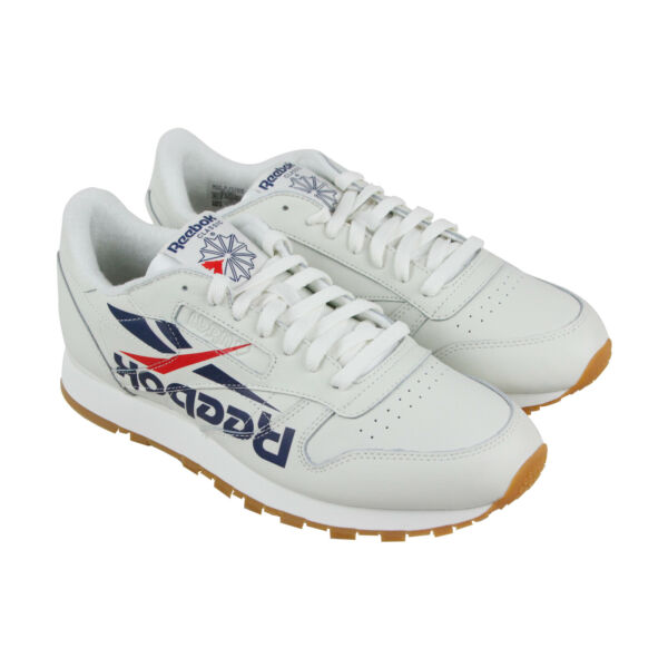 Reebok Classic Leather 3Am Mens White Leather Low Top Sneakers Shoes
