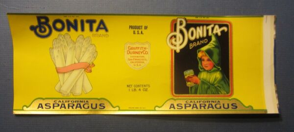 Old Vintage 1930's BONITA Asparagus Can LABEL - S.F. CA. - Traung SAMPLE FILES