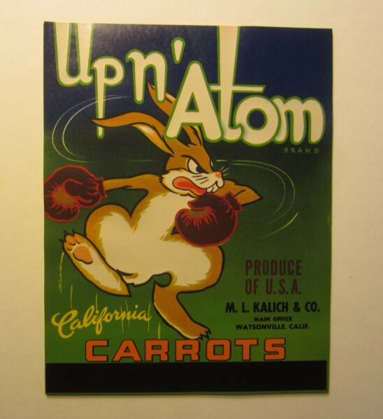Wholesale Lot of 25 Old Vintage UP N' ATOM Carrot LABELS  Cartoon BOXING RABBIT