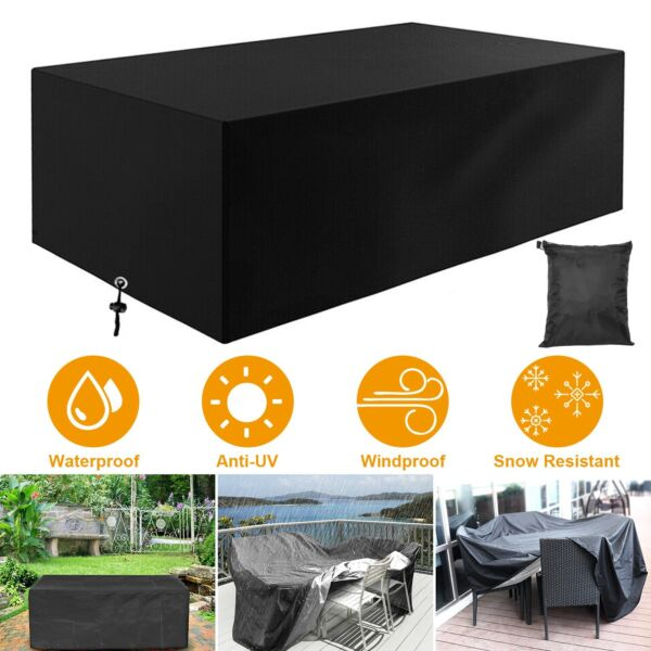 Waterproof Rectangular Garden Patio Furniture Cover Outdoor Rattan Table Cover