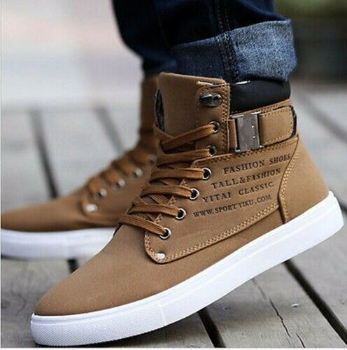 Fashion Mens Oxfords Casual High Top Shoes Leather Shoes Canvas Sneakers New 1