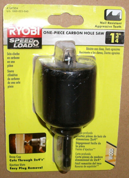 RYOBI DRILL BIT DEEP CUT HOLE SAW ONE PEICE CARBON SPEED LOAD A10HS04 1 3 4quot; $9.99