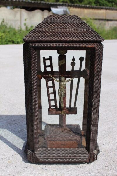 Stunning Antique Wooden Tramp art Cross Crucifix in Glass Dome with Lid 24