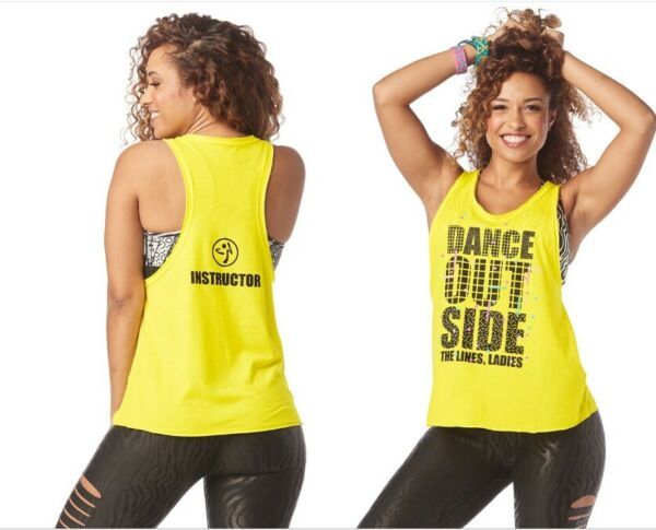Zumba Dance Outside INSTRUCTOR Loose Tank Top - Yellow size XS Sm Med Lg XL