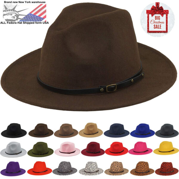 Vintage Men Women Belt Felt Hat Wide Brim Fedora Trilby Panama Hat Gangster Cap