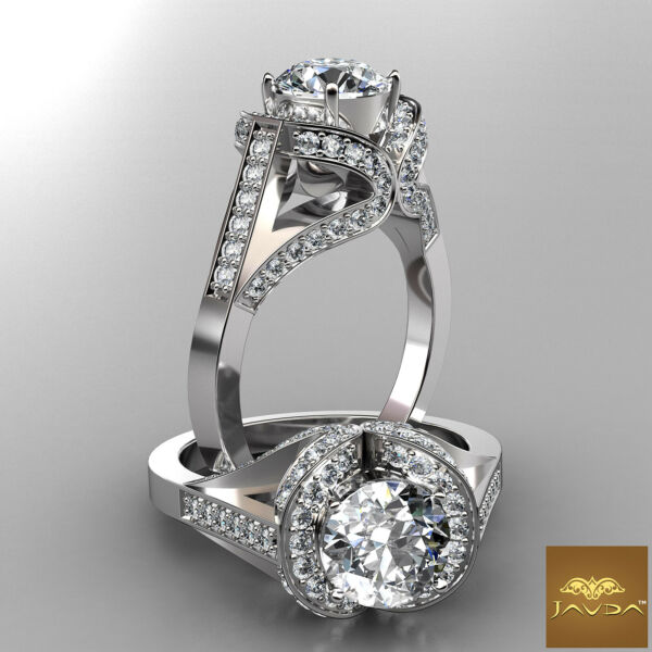 Sturdy Round Diamond Halo Pave Engagement Ring GIA F SI1 14k White Gold 2.2 ct