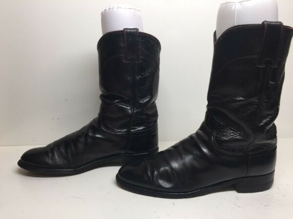 WOMENS JUSTIN WESTERN ROPER LEATHER BURGUNDY BOOTS SIZE 7.5 B $16.99