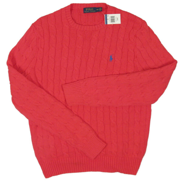 NEW Polo Ralph Lauren Mens Sweater!  Orange Green Pink or Yellow  Cable Knit